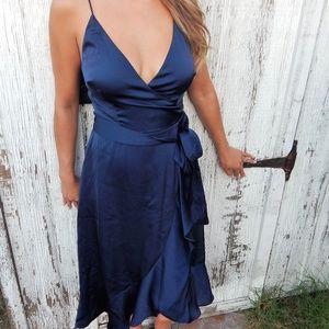COOPER ST Dresses - Cooper St Marilyn Satin Faux Wrap Dress Midi 8ca9f14fd